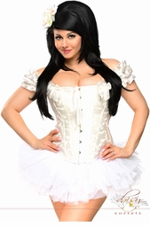 White Steel Boned Embroidered Peasant Top Corset & Pettiskirt