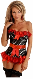 Polka Dot Rockabilly Corset with Lace-Up Back