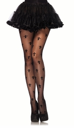 Sheer Pantyhose with Woven Cross Design