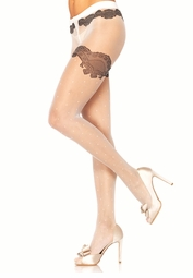 Sheer Polka Dot Pantyhose with Black Woven Lace Detail