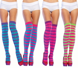 Rave Neon Stripe Thigh High Stockings