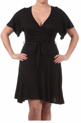 Black Plus Size Short Sleeve Faux Wrap Dress with Waist Tie