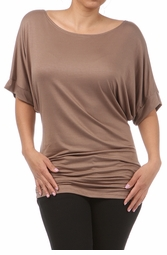 Plus Size Short Sleeve Top with Side Ruching