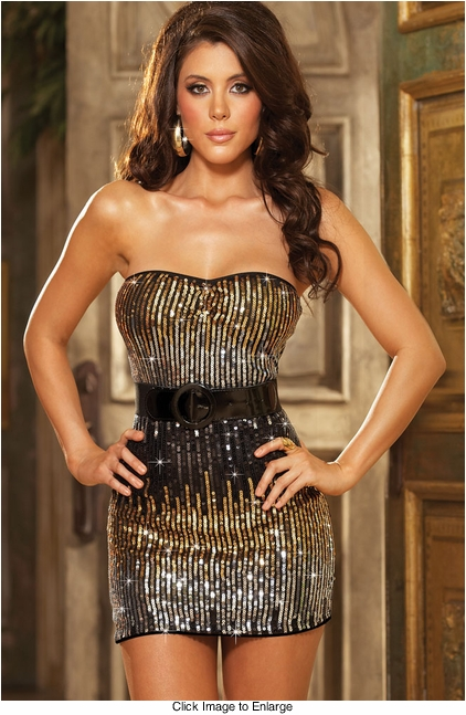 Strapless Sequin Dress with Belt