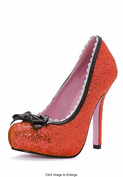 "5"" Red Glitter Pump Shoes with Bow"
