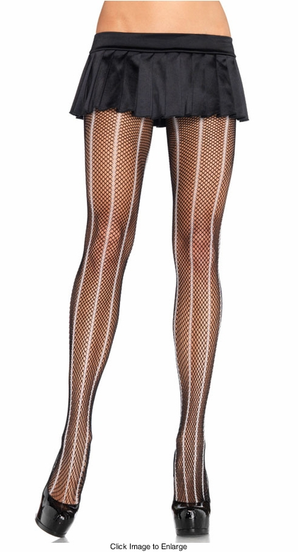 Fishnet Pantyhose with Stripe
