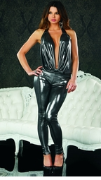 Gunmetal Jumpsuit with Halter Front