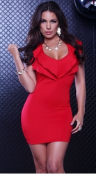 Red Ruffle Halter Neck Dress