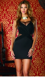Black Dress with Mesh Front