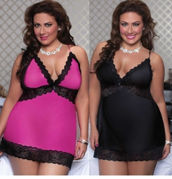 Plus Size Satin Slip and Thong with Lace Trim