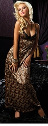 Long Satin Leopard Sleeping Gown