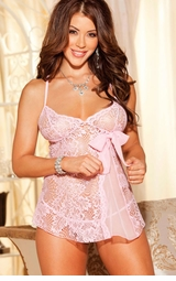 Sugar Lace Babydoll with G-string in Pastel Colors
