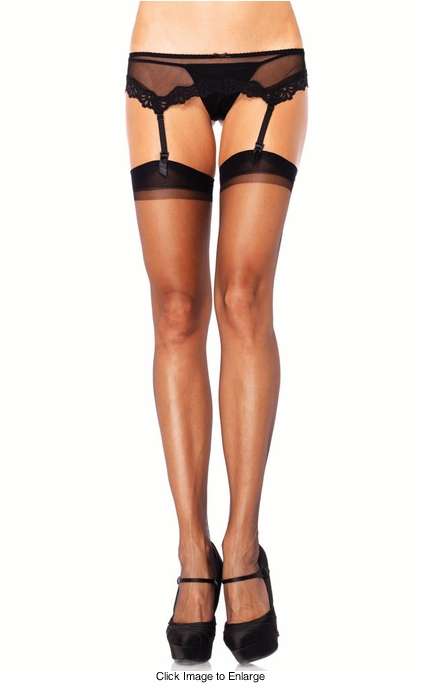 Sheer Thigh high Stockings with Black Cuff