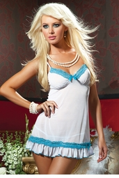 Luxe Mesh Chemise with Lace Trim and Thong
