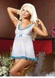 White and Blue Babydoll and Thong