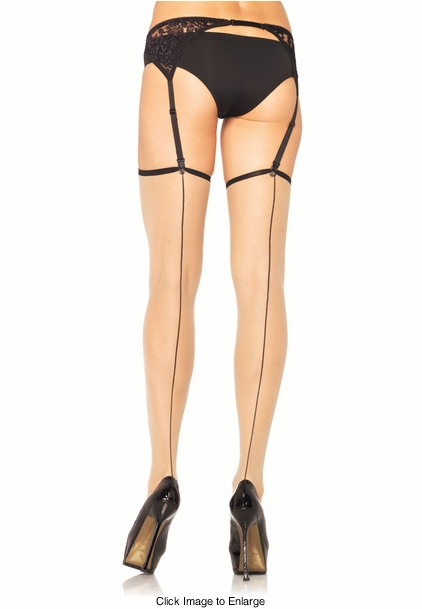 Sheer Thigh High Stockings with Black Backseam and Trim