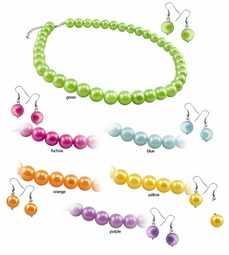 Pearl Necklace and Earrings in Vibrant Hues
