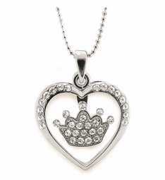 Crystal Heart Crown Necklace