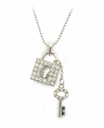 Crystal Lock and Key Necklace