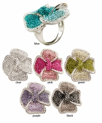 Pave Crystal Flower Ring
