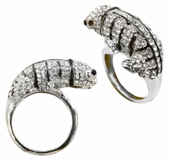Jeweled Chameleon Lizard Ring
