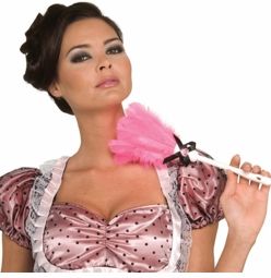 Pink French Maid Feather Duster