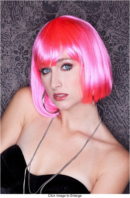 Hot Pink Bob Wig with Bangs