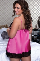 Plus Size Satin Babydoll and Thong