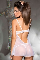 Sheer Chiffon Babydoll with Embroidered Lace Cups