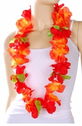 Costumes-Orange Hawaiian Flower Lei