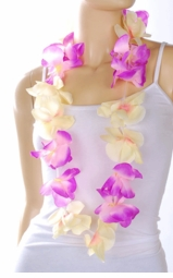 Costumes-Pink and Cream Hawaiian Flower Lei