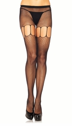 Micro Net Fishnet Pantyhose with Oval Net and Floral Net Detail