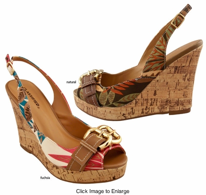 "4"" Wedge Tropical Print Sling Back Sandals"
