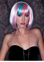 White, Light Pink and Light Blue Bob Wig with Bangs (Angel's Breath)