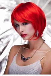 Razor Cut Bob Wig With Bangs in Firecracker Red