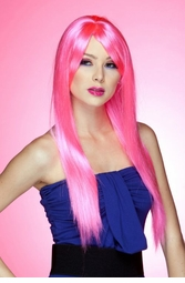 Long Straight Wig with Bangs in Pink Explosion
