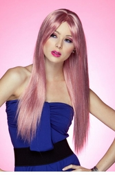 Long Straight Wig with Bangs in Pink Venom