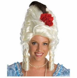 Marie Antoinette Wig with Red Rose