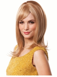 Long Straight Hair Human Hair Blend Wig