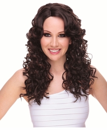 Long Curly Wig with Side-Swept Bangs