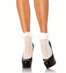 Crochet Socks with Lace Ruffle Trim