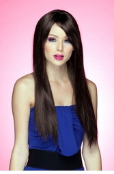 Long Straight Wig with Bangs in Chocolate