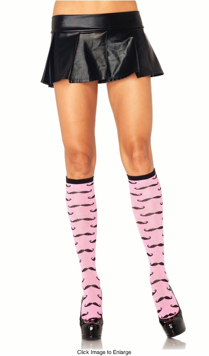 Iconic Mustache Knee High Socks