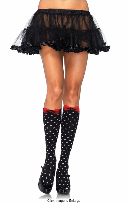 Polka Dot Knee High Socks with Bow