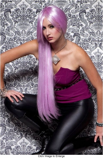 Waist Long Wig in Lilac Purple Color
