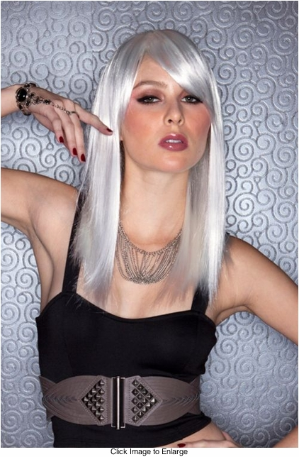 Edgy Chrome Medium Length Wig