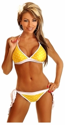 Pin-Up Yellow Polka Dot Pucker Back Bikini