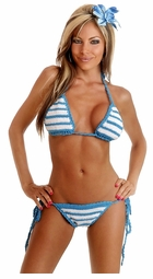 Turquoise and White Stripe Crochet Bikini with Full Lining