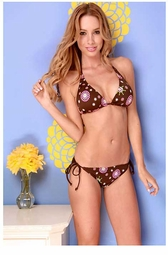 2-Piece Chocolate Sunburst Print Bikini