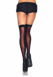 Thigh High Stockings with Lace-Up Design